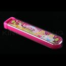 迪士尼公主粉紅色透明拉蓋餐具盒連筷子 連匙(大)