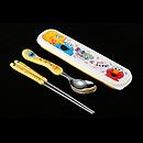 芝麻街黃色餐具盒連湯匙 連筷子