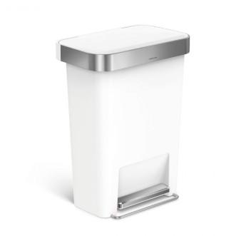 simplehuman 45L 長方形膠垃圾桶 - 白色