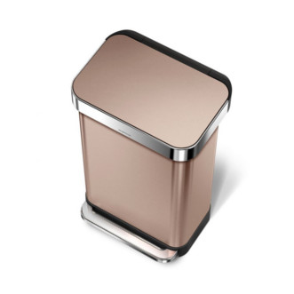 simplehuman 45L 免指紋不銹鋼長方腳踏垃圾桶 - 玫瑰金