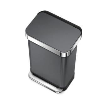 simplehuman 45L 免指紋不銹鋼長方腳踏垃圾桶 - 黑色鋼