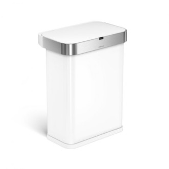 simplehuman 58L 免指紋鋼長方聲控&自動感應垃圾桶 - 白色
