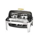 X32系列 1/1 長方形不銹鋼全翻蓋式自助餐爐 (鍍鈦手柄),雙湯桶