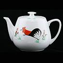 彩雞有蓋茶壺