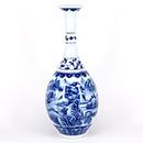 青花山水膽式瓶