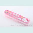 Hello Kitty 粉紅色餐具盒連筷子,叉,匙羹