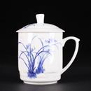 青花骨瓷菊花蓋杯