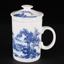 青花骨瓷山水直身茶隔杯
