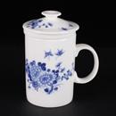 青花骨瓷菊花雙蝶直身茶隔杯
