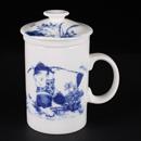 青花骨瓷童子直身茶隔杯