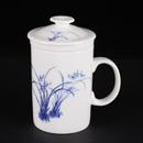 青花骨瓷菊花直身茶隔杯