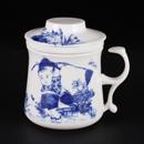 青花骨瓷童子開耳茶隔杯