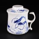青花骨瓷蝦趣圖開耳茶隔杯
