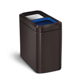simplehuman 20L 窄身不銹鋼開口分類垃圾桶 - 深銅色