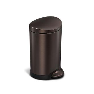 simplehuman 6L 免指紋不銹鋼半圓腳踏垃圾桶 - 深銅色