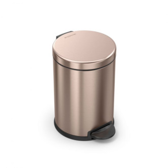 simplehuman 4.5L 免指紋不銹鋼圓形腳踏垃圾桶 - 玫瑰金
